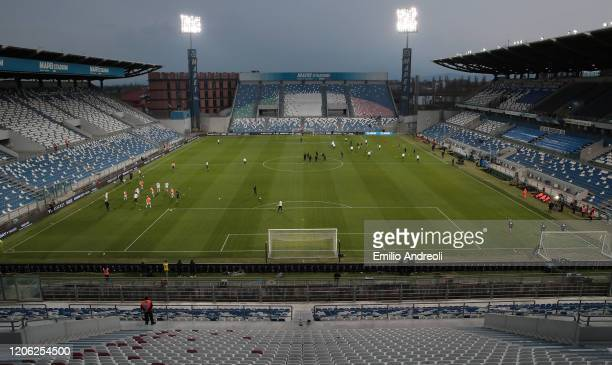 A general view inside the empty stadium as fans cannot attend the match due to the medical emergency Covid19 prior to the Serie A match between US...
