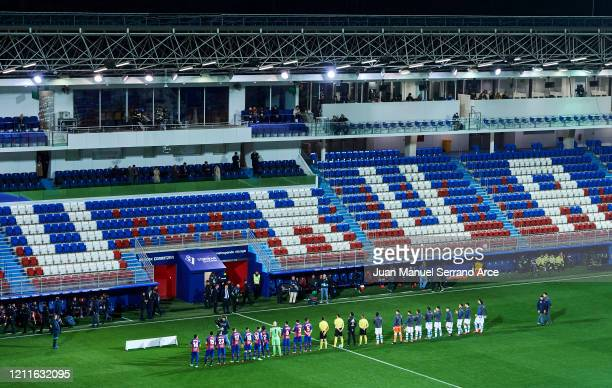 General view inside the empty stadium as fans cannot attend the match due to the medical emergency Covid-19 prior to the Liga match between SD Eibar...