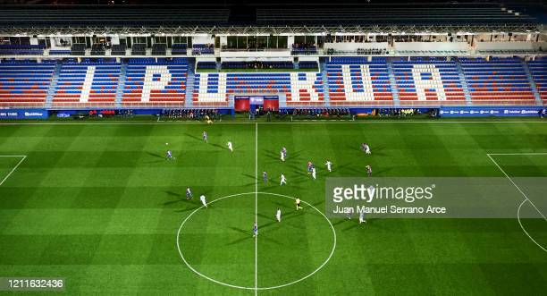 General view inside the empty stadium as fans cannot attend the match due to the medical emergency Covid-19 during the Liga match between SD Eibar...