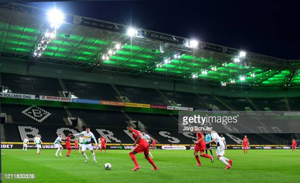 General view inside the empty stadium during the Bundesliga match between Borussia Moenchengladbach and 1. FC Koeln at Borussia-Park on March 11,...