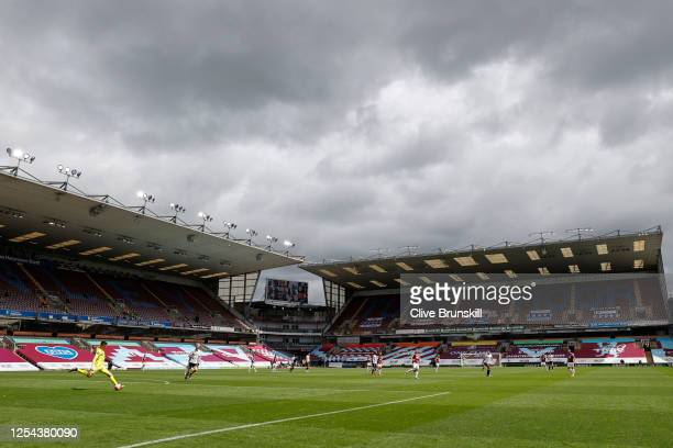 General view inside the empty stadium during the Premier League match between Burnley FC and Sheffield United at Turf Moor on July 05, 2020 in...