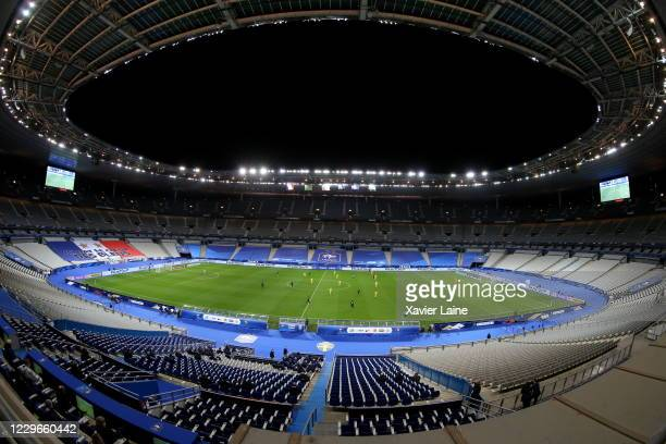 General view inside the empty stadium during the UEFA Nations League group stage match between France and Sweden at Stade de France on November 17,...