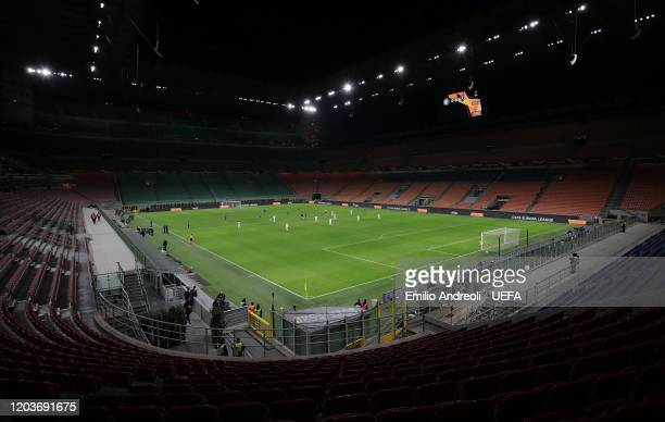 A general view inside the empty stadium fans cannot attend the match due to the medical emergency Covid19 during the UEFA Europa League round of 32...