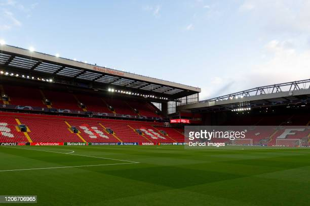 General view inside the empty stadium prior to the UEFA Champions League round of 16 second leg match between Liverpool FC and Atletico Madrid at...