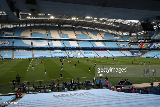 General view inside the empty stadium prior to the UEFA Champions League round of 16 second leg match between Manchester City and Real Madrid at...