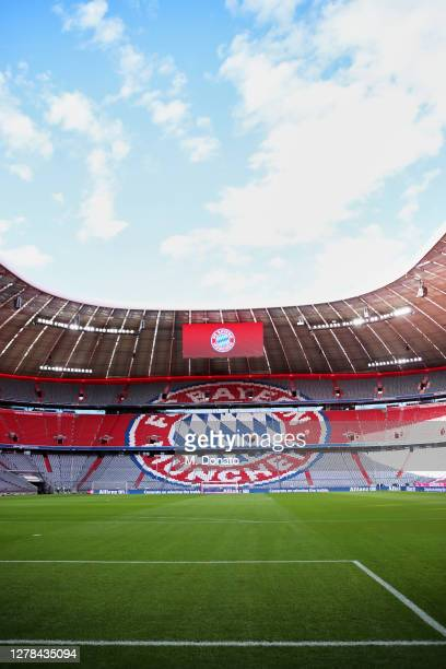 General view inside the empty venue prior to the Bundesliga match between FC Bayern Muenchen and Hertha BSC at Allianz Arena on October 04, 2020 in...