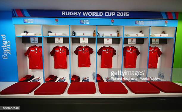 A general view inside the England dressing room prior to the 2015 Rugby World Cup Pool A match between England and Fiji at Twickenham Stadium on...