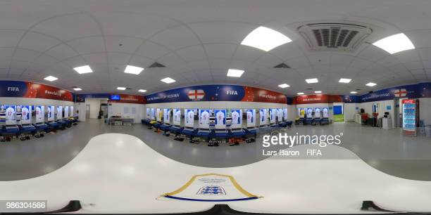 General view inside the England dressing room prior to the 2018 FIFA World Cup Russia group G match between Panama and Tunisia at Mordovia Arena on...