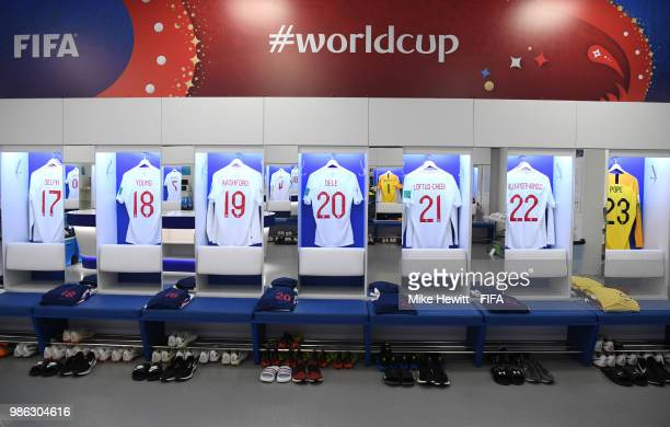 A general view inside the England dressing room prior to the 2018 FIFA World Cup Russia group G match between England and Belgium at Kaliningrad...