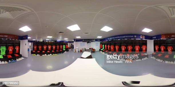 A General view inside the England dressing room prior to the 2018 FIFA World Cup Russia Round of 16 match between Colombia and England at Spartak...