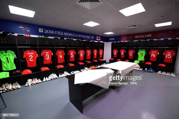 General view inside the England dressing room prior to the 2018 FIFA World Cup Russia Round of 16 match between Colombia and England at Spartak...