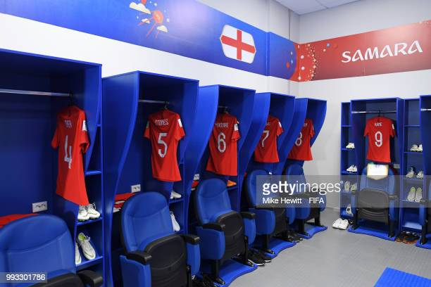 General view inside the England dressing room prior to the 2018 FIFA World Cup Russia Quarter Final match between Sweden and England at Samara Arena...