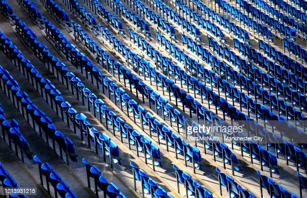 A general view inside the Etihad Stadium during the coronavirus pandemic on March 20 2020 in Manchester England