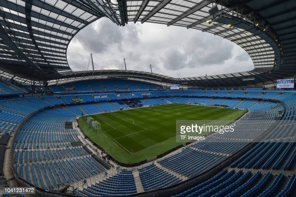 A general view inside the Etihad Stadium prior to the UEFA Champions League Group F match between Manchester City and Olympique Lyonnais at Etihad...