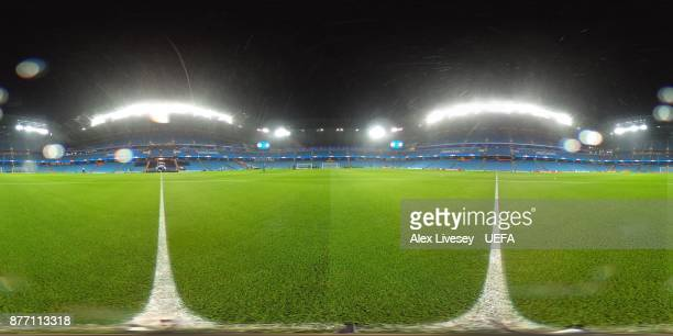 A general view inside the Etihad Stadium prior to the UEFA Champions League group F match between Manchester City and Feyenoord at Etihad Stadium on...