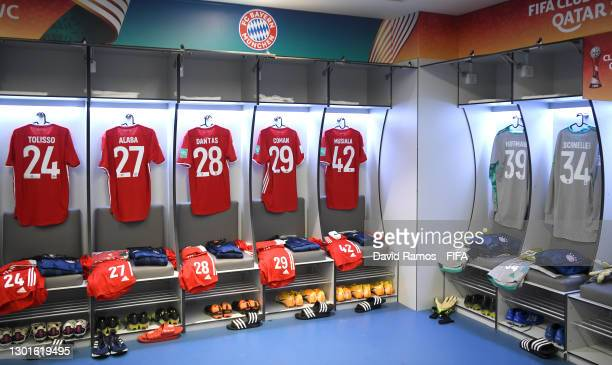 General view inside the FC Bayern Muenchen dressing room prior to the FIFA Club World Cup Qatar 2020 Final between FC Bayern Muenchen and Tigres UANL...