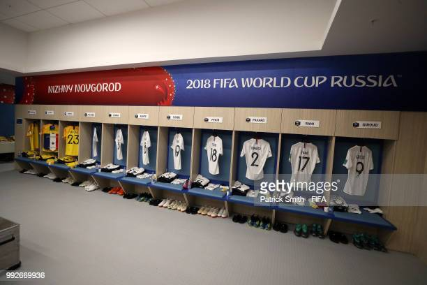 General view inside the France dressing room prior to the 2018 FIFA World Cup Russia Quarter Final match between Uruguay and France at Nizhny...