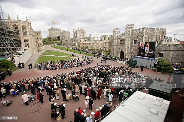 A general view inside the gates of Windsor Castle following the Service of Prayer and Dedication after the marriage of TRH The Duchess of Cornwall...