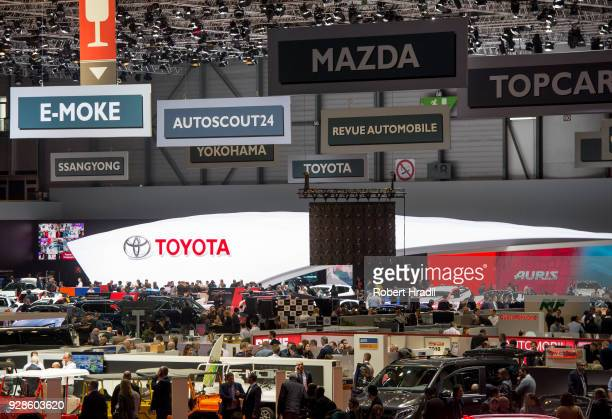 A general view inside the Geneva Car Show Hall at the 88th Geneva International Motor Show on March 7 2018 in Geneva Switzerland Global automakers...