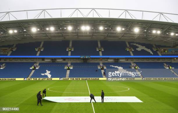 A general view inside the ground as preparations are made prior to the Premier League match between Brighton and Hove Albion and AFC Bournemouth at...