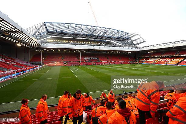 A general view inside the ground as stewards are given a briefing prior to the UEFA Europa League quarter final second leg match between Liverpool...