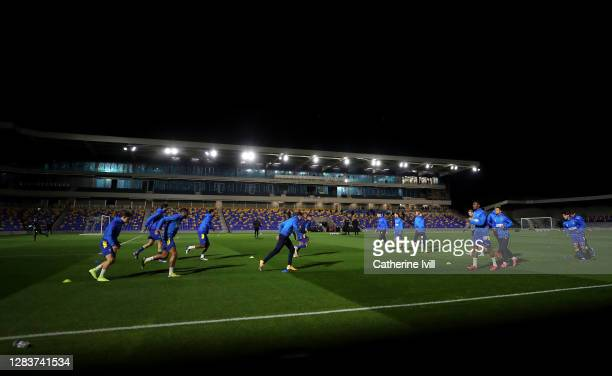 General view inside the ground as Wimbledon warm up prior to the Sky Bet League One match between AFC Wimbledon and Doncaster Rovers at Plough Lane...