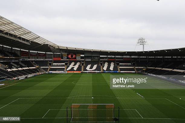 General view inside the ground before the Barclays Premier League match between Hull City and Arsenal at KC Stadium on April 20 2014 in Hull England
