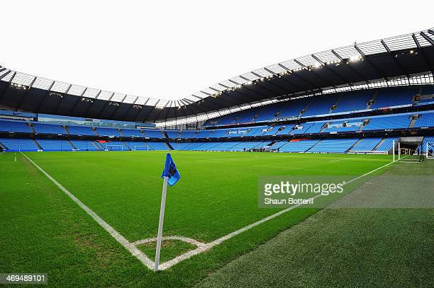 General view inside the ground before the FA Cup Fifth Round match between Manchester City and Chelsea at the Etihad Stadium on February 15 2014 in...