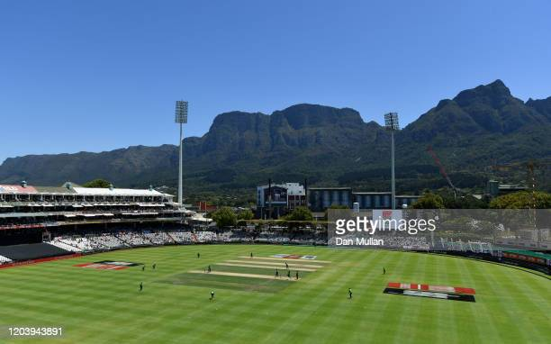 General view inside the ground during the First One Day International match between South Africa and England at Newlands on February 04, 2020 in Cape...