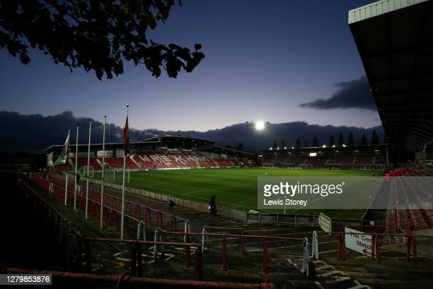 A general view inside the ground is seen ahead of the Vanarama National League match between Wrexham and Maidenhead United at The Racecourse Ground...
