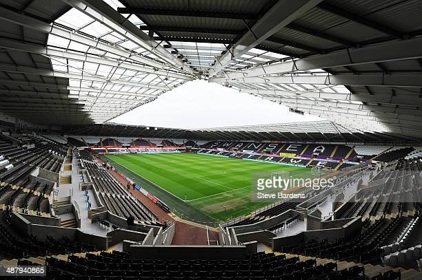 A general view inside the ground prior to the Barclays Premier League match between Swansea City and Southampton at Liberty Stadium on May 3 2014 in...