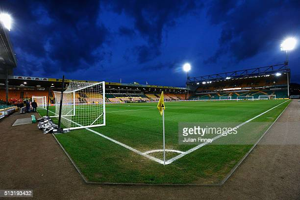 A general view inside the ground prior to the Barclays Premier League match between Norwich City and Chelsea at Carrow Road on March 1 2016 in...