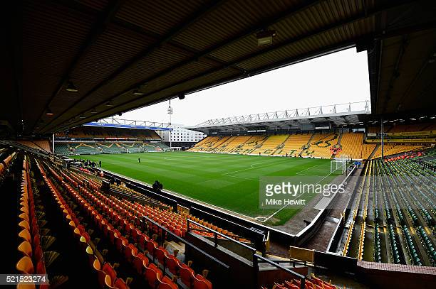 A general view inside the ground prior to the Barclays Premier League match between Norwich City and Sunderland at Carrow Road on April 16 2016 in...