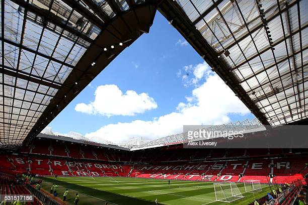 A general view inside the ground prior to the Barclays Premier League match between Manchester United and AFC Bournemouth at Old Trafford on May 15...