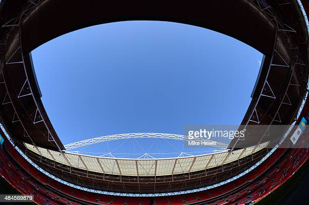 A general view inside the ground prior to the FA Cup with Budweiser semifinal match between Hull City and Sheffield United at Wembley Stadium on...