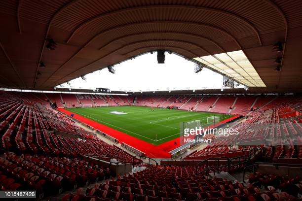 General view inside the ground prior to the Premier League match between Southampton FC and Burnley FC at St Mary's Stadium on August 12 2018 in...