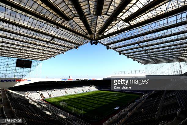 A general view inside the ground prior to the Premier League match between Newcastle United and Brighton Hove Albion at St James Park on September 21...