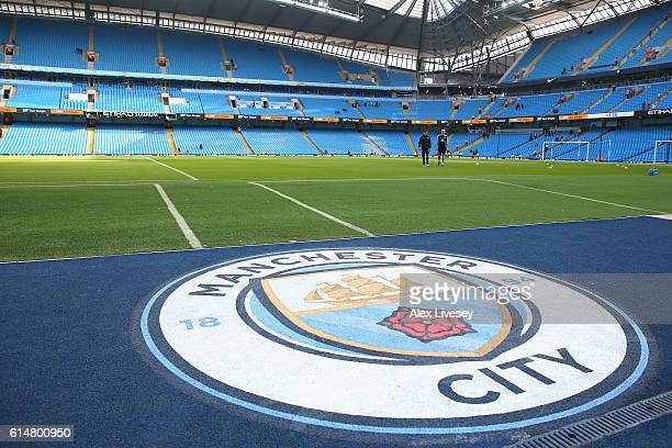 A general view inside the ground prior to the Premier League match between Manchester City and Everton at Etihad Stadium on October 15 2016 in...