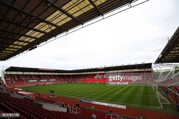 A general view inside the ground prior to the Premier League match between Stoke City and West Ham United at Bet365 Stadium on April 29 2017 in Stoke...