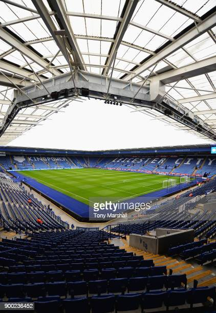 A general view inside the ground prior to the Premier League match between Leicester City and Huddersfield Town at The King Power Stadium on January...