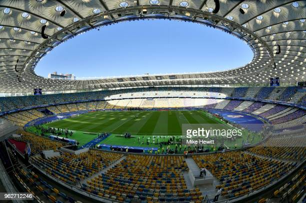General view inside the ground prior to the UEFA Champions League Final between Real Madrid and Liverpool at NSC Olimpiyskiy Stadium on May 26, 2018...