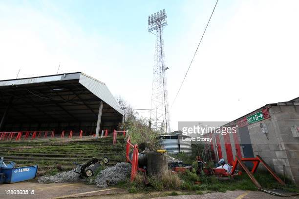 A general view inside the ground prior to the Vanarama National League match between Wrexham and Aldershot Town at Racecourse Ground on November 21...