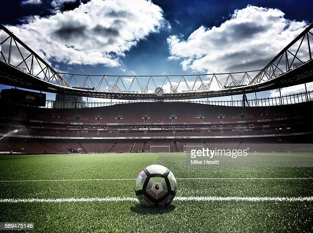 General view inside the ground showing the new Nike match ball prior to the Premier League match between Arsenal and Liverpool at Emirates Stadium on...
