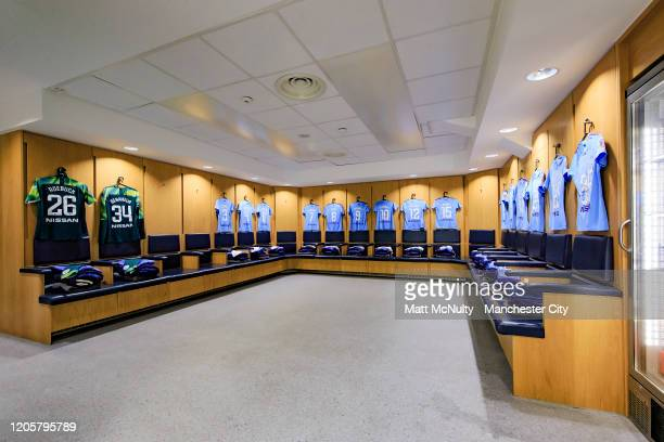 A general view inside the home team dressing room prior to the Barclays FA Women's Super League match between Manchester City and Bristol City at The...