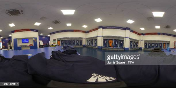 General view inside the Japan dressing room prior to the 2018 FIFA World Cup Russia group H match between Japan and Poland at Volgograd Arena on June...