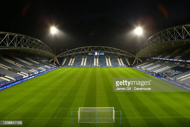 General view inside the John Smith's Stadium is seen prior to the Sky Bet Championship match between Huddersfield Town and Bristol City at John...