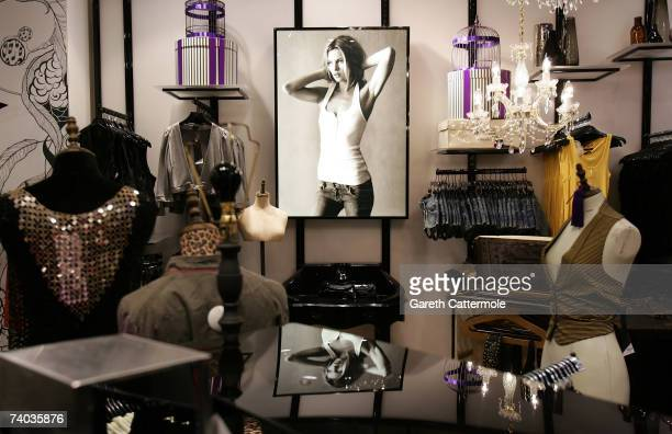 A general view inside the Kate Moss clothing section of Top Shop on Oxford Street during the official public launch of the Kate Moss collection on...