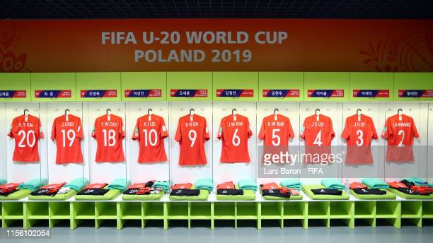 General view inside the Korea Republic dressing room prior to the 2019 FIFA U-20 World Cup Final between Ukraine and Korea Republic at Lodz Stadium...