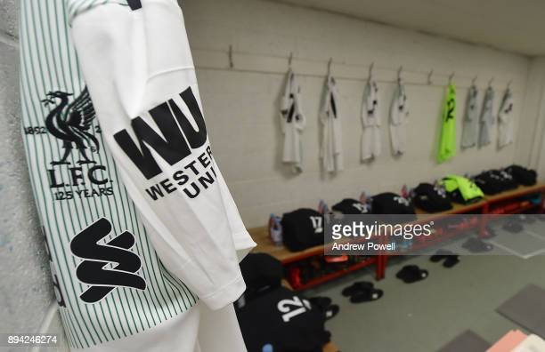 A general view inside the Liverpool dressing room before the Premier League match between AFC Bournemouth and Liverpool at Vitality Stadium on...