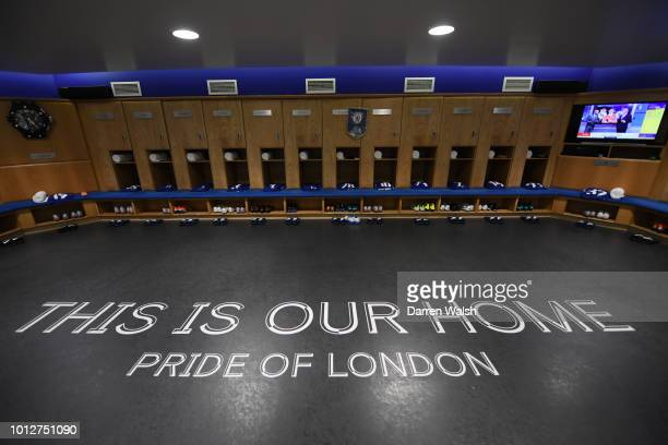 A general view inside the locker rooms at Stamford Bridge ahead of the preseason friendly match between Chelsea and Lyon at Stamford Bridge on August...